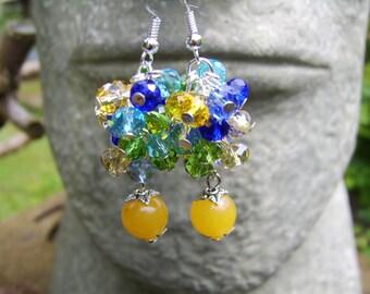 Crystal Earrings. Cluster Earrings. Glass Cluster Earrings. Yellow Earrings. Yellow, Blue, Green Earrings.Beaded Earrings. Gift For Her.