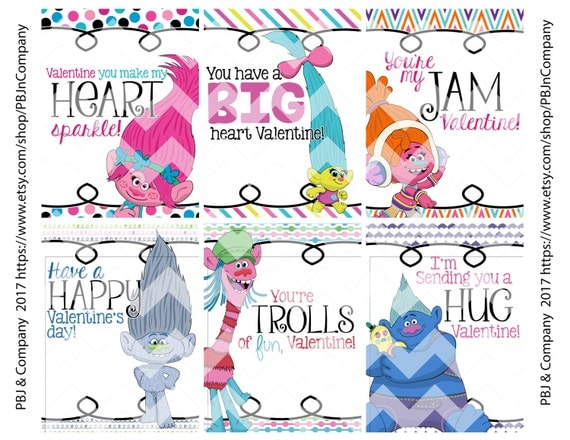 Printable Trolls Valentines For Kids