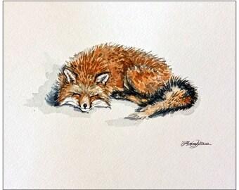 "Original Water color painting, Sleepy Fox, 8""x10"", 1612054"
