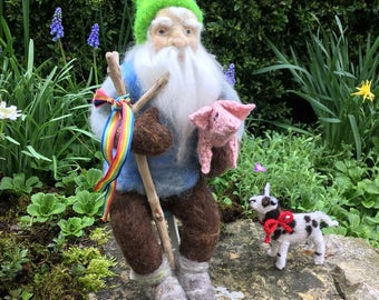 Needle felted gnome and his knitted friends.