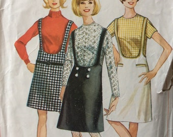 Simplicity 6271 vintage 1960's junior misses suspender skirt and blouse sewing pattern size 11 bust 31.5 bust 31 1/2 or size 16 bust 36