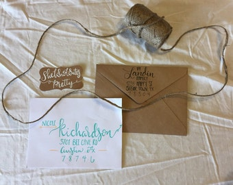 Custom Hand Addressed envelope with Modern Calligraphy and color embellishments