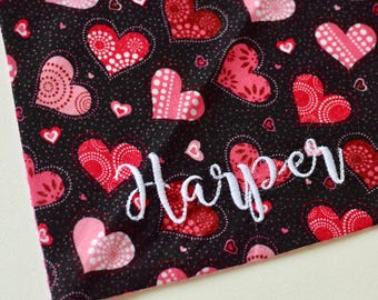 Personalized Hearts Dog Bandana ||  XO's Personalized Pet Scarf || Reversible Custom Gift by Three Spoiled Dogs