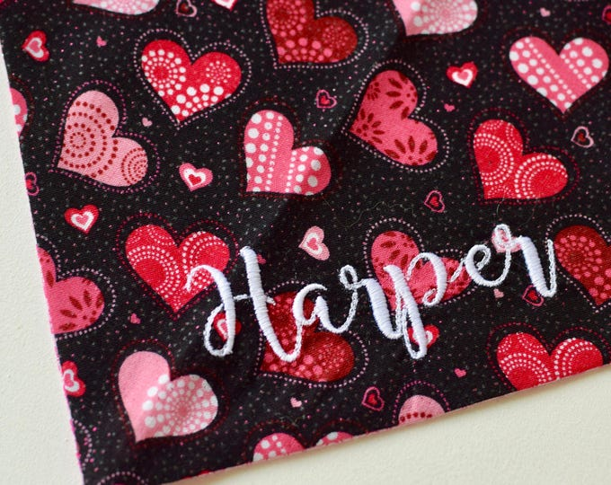 Featured listing image: Personalized Valentine Dog Bandana ||  XO's Hearts Personalized Pet Scarf || Reversible Custom Gift by Three Spoiled Dogs