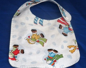 Waterproof Baby Bib  - Made and Ready to Ship -Snow Babies - Decorative Stitching - 3 layers Cotton outer, Flannel inner layer & PUL backing