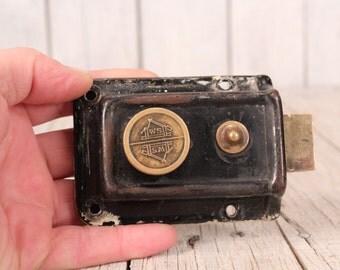 Door lock - Vintage door lock - Apartment lock - Door handle - Parisian decor - French lock - Brass door lock - Flip up front door lock
