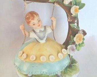 Vintage Lefton Girl on Swing Figurine, Lefton Exclusives Japan KW3058C