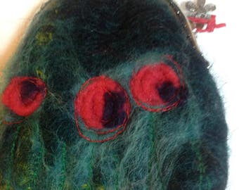 Coin purse, purse, gift for her, mohair wool purse, poppy purse