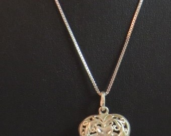 Sterling Silver 925 Chain Ornate Heart Vintage Necklace