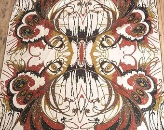 """Vintage Silk Richard Allan Brown Butterfly Symmetrical Scarf Boho Jacqmar 29"""""""