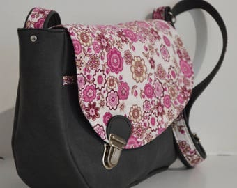 Satchel Tairie grey and pink flowered