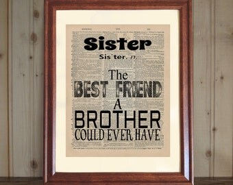 Sister Dictionary Print, Quote for Sister, Brother to Sister Gift, Older or Younger Sister Gift, Sister Print on 5x7 or 8x10 Canvas Panel