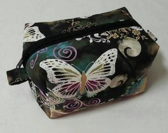 Butterfly boxy bag, Travel bag, toiletry bag, boxy bag, cosmetic bag