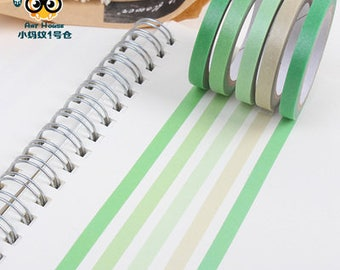 5mm Slim Green Ombre Japanese Washi Tape Set, Gray Tune Masking Tape, Scrapbooking Stickers E53