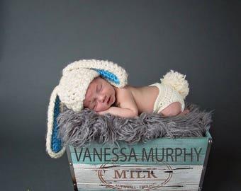 Newborn fluffy bunny hat and diaper cover, Newborn photography prop, newborn boy, newborn girl, crochet hat and diaper cover