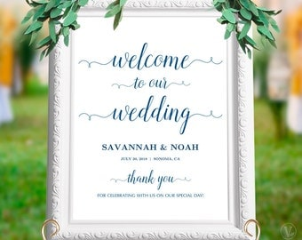 "Navy Blue Wedding Welcome Sign, Custom Wedding Sign, 18""x24"" and 24""x36"" sizes, Editable Text, INSTANT DOWNLOAD, WS008, WV03"