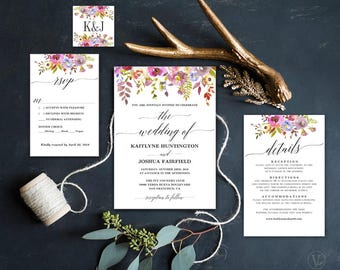Rustic Summer Floral Wedding Invitation, Printable Rustic Floral Wedding Invitation Template, Editable Text, Instant Download, Rustic Summer