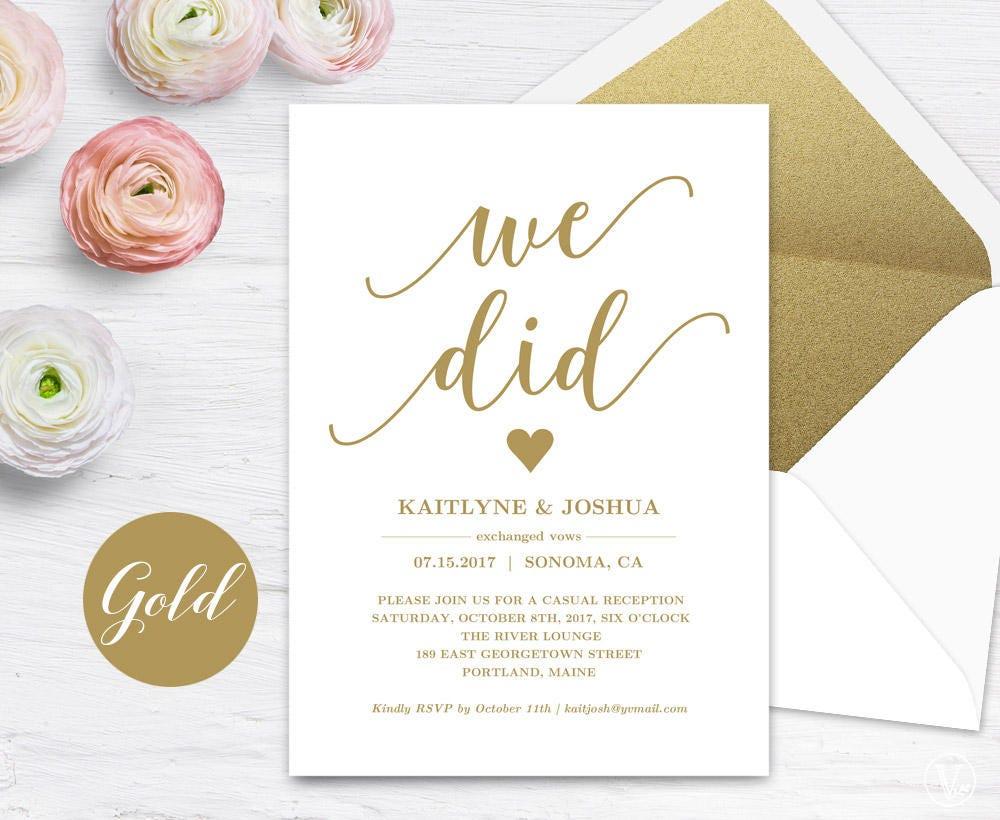 Elopement Wedding Invitations: Gold Elopement Reception Invitation Printable Elopement