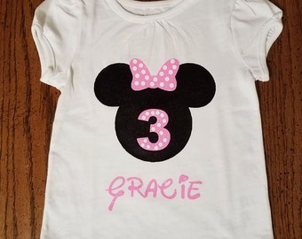Minnie Mouse 3rd Birthday Vinyl Shirt