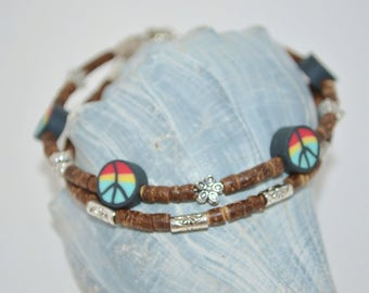 Ankle Bracelet Peace & Flowers, 2 Strand Coconut Heishi Bead Anklet, Rasta Peace Sign Anklet, Flower Power Anklet with Peace Signs