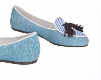 Blue denim loafers/ Smoking Slipper