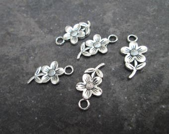 Flower charms package of 5 double sided three dimensional puffed flower charms perfect for adjustable bangle bracelets