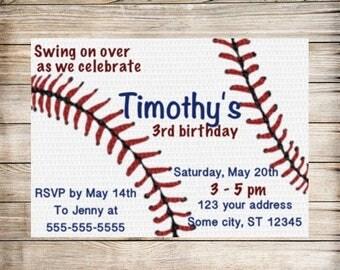 Baseball birthday digital invitation downloadable