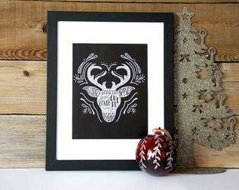 Reindeer, Hand Lettered, Hand Drawn, Wall Hanging, Christmas, Print, Typography