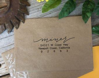 Custom Rubber Stamp Design, BOUNCY LETTERS, Return Address, Rubber Stamp, Modern Calligraphy Wood Stamp, Hand Lettered Stamp