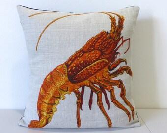 Crayfish Cushion Cover Lobster Crustaceans Australian Seafood Fishing Gift For Him Repurposed Tea Towel  Cray Beach House Decor Housewarming