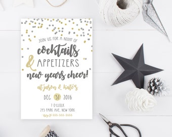 New Years Eve Party Invitation, New Years Invitation, 2017, Happy New Year, Printable New Years Party Invitation, Gold NYE Invitation [561]
