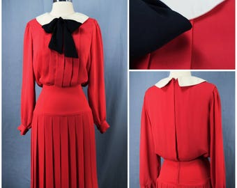 vintage 70s red black white R & K Originals pleated drop waist dress vint. 1970s bow collar secratary dress vtg 70's