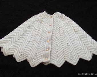 Knitted Cape,Shawl,Knitted Button Front Cape,Misses,Petite,Child's Cape,Cloak, Girls Coat,Sweater,Poncho,Handmade.Vintage,Cape, Knitting