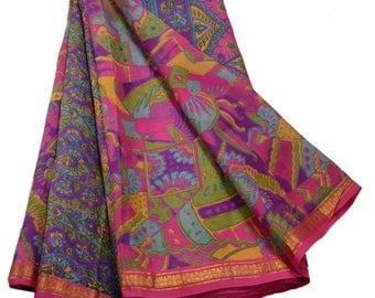 KK Indian Printed Saree Pure Silk Craft Pink Fabric Zari Border Sari
