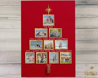 Christmas Photo Tree | Christian Printable Christmas Card | Digital Photo Christmas Card | Red
