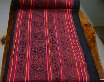 1YD Vintage Hmong textiles embroidered batik fabric cotton handmade table runner#21