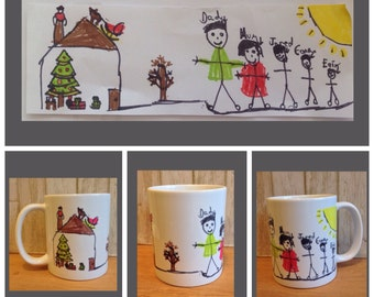 Personalised mug with your childs drawing- kids drawing on a mug- special gift