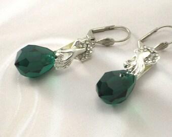 Green Crystal Silver Earrings Mother of the Bride Pierced Earrings Lever Back Earrings Bridesmaid Earrings Wedding Earrings Bridal Earrings