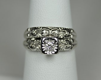 Vintage Ladies 14K White Gold Engagement Ring Wedding Band Set Bridal Set Hallmark 0.11ctw Diamonds Deco c1930s
