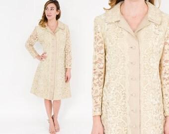 60s Evening Silk Shantung Coat Dress | Beige Lace & SilkDress | Wedding Dress | I. Magnin | Medium