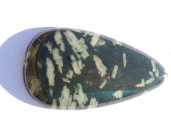 Chinese Writing Stone Cabochon, Teardeop, Dark green and White, 40 x 23 mm, Porphyry, C1740