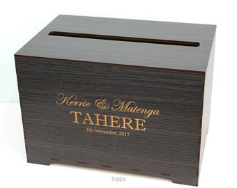 Wedding card box, personalized wooden wishing well box by TreeX