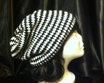 Black & White Striped Slouchy Beanie BeetleJuice Beanie Hipster/ Adult /child/teen/Beanie/Hat/Super slouchy beanie/crochet/knit hat/Hipster