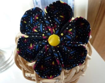 Kanzashi flower brooch black fabric and yellow button -