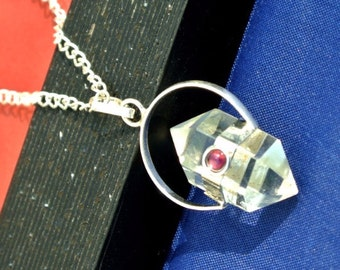Crystal Quartz Double Point Pendant Necklace, Sterling silver chain, Long Boho Necklace, Crystal Pendant, Healing Crystal