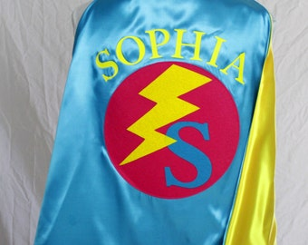 Personalized SUPERHERO Cape/Youth Cape and Toddler Cape Sizes/Additional Accessories Available/CUSTOM Cape/Girls Cape/Costume