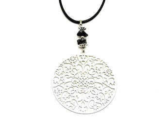 Stone pendant necklace, snowflake obsidian jewelry, silver filigree pendant, women gift jewelry bohemian jewelry necklace silver jewelry cyl