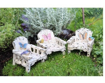 Fairy Garden  - Butterfly Chairs Set of 3 - Miniature