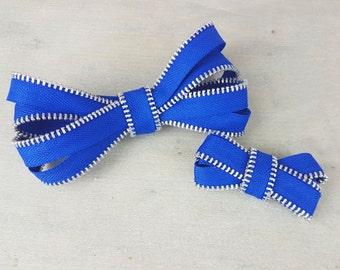 "4"" zipper hairbow - handmade hair accessory - big bow"