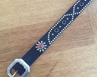 "Black leather rockabilly studded western belt ""kaw-liga"""
